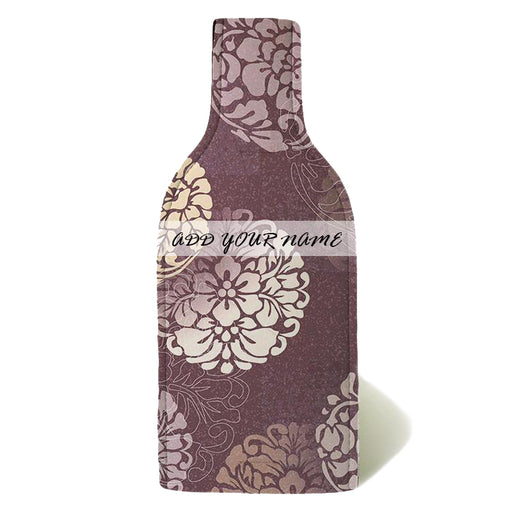 ADD YOUR NAME - Wine Bottle Cooler with Strap - Elegant Floral