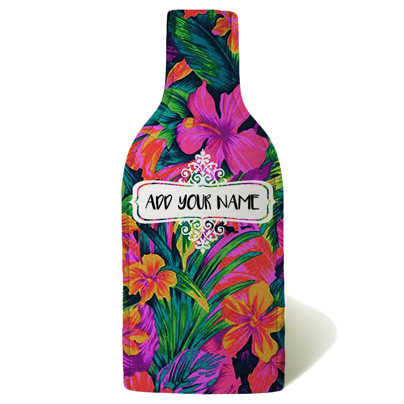 ADD YOUR NAME - Wine Bottle Cooler with Strap - Bright Tropical Floral