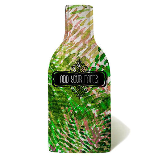 ADD YOUR NAME - Wine Bottle Cooler with Strap - Green/Pink Watercolor