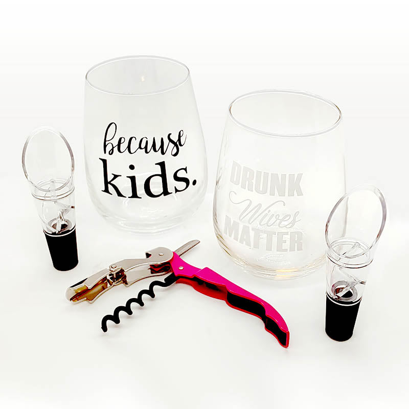 Stemless Wine Glass Gift Set for Mom