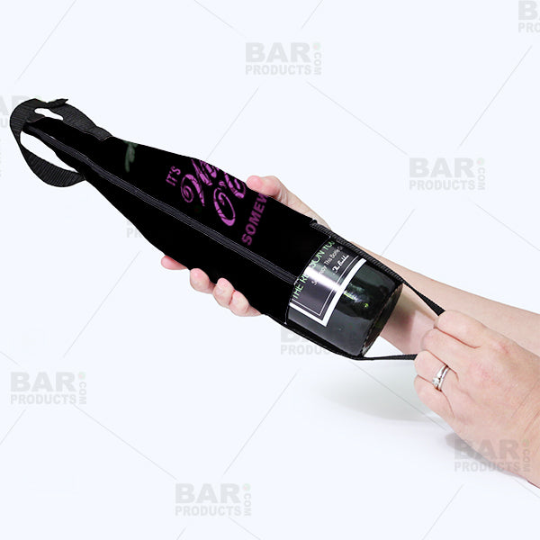Wine Bottle Cooler with Strap - Wine O' Clock