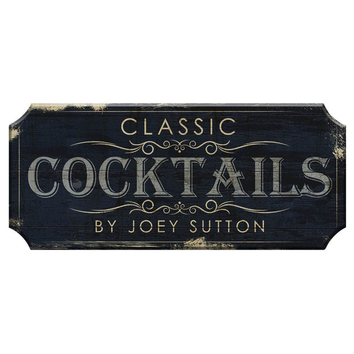 CUSTOMIZABLE Wood Plaque Sign - CLASSIC COCKTAILS - Color Options