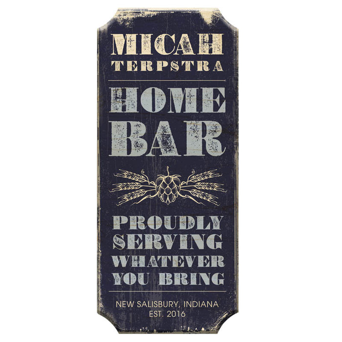 CUSTOMIZABLE Wood Plaque Sign - HOME BAR - Color Options