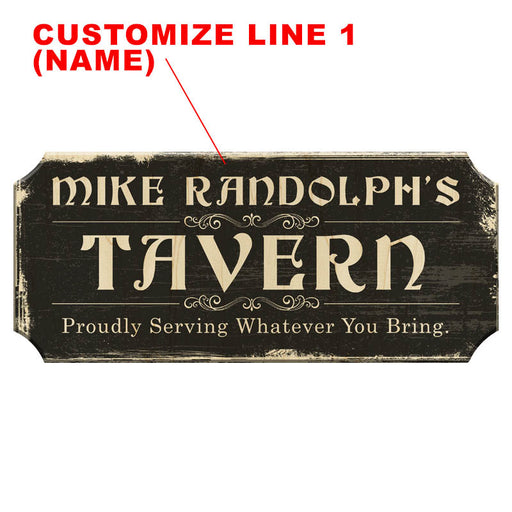 CUSTOMIZABLE Wood Plaque Sign - TAVERN - Color Options