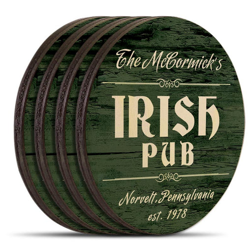 Wooden Round Coasters - Customizable - Irish Theme - Set of 4