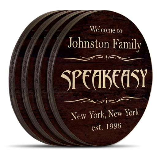 Wooden Round Coasters - Customizable - Speakeasy Theme - Set of 4
