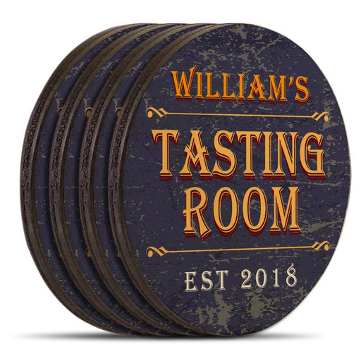 Wooden Round Coasters - Customizable - Tasting Room - Set of 4