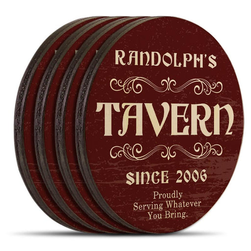 Wooden Round Coasters - Customizable - Tavern Theme - Set of 4