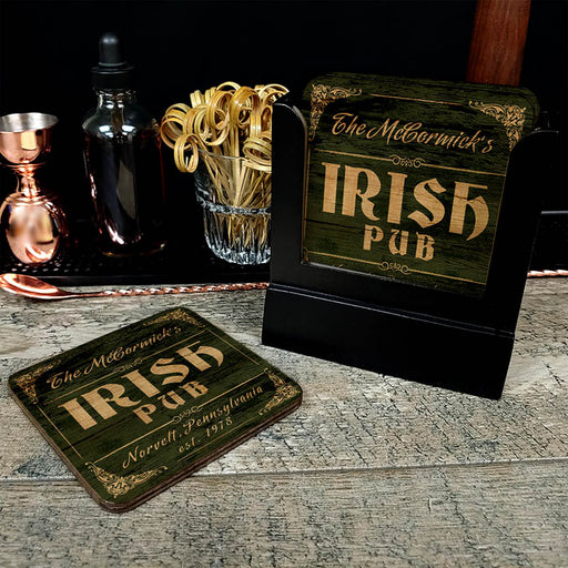 Wooden Square Coasters - Customizable - Irish Theme - Set of 4