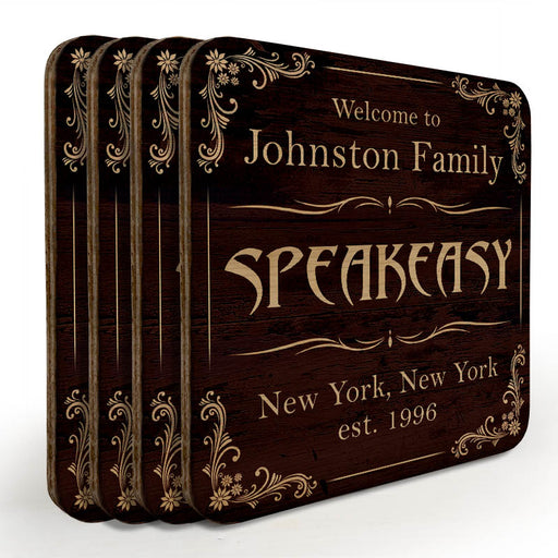 Wooden Square Coasters - Customizable - Speakeasy - Set of 4
