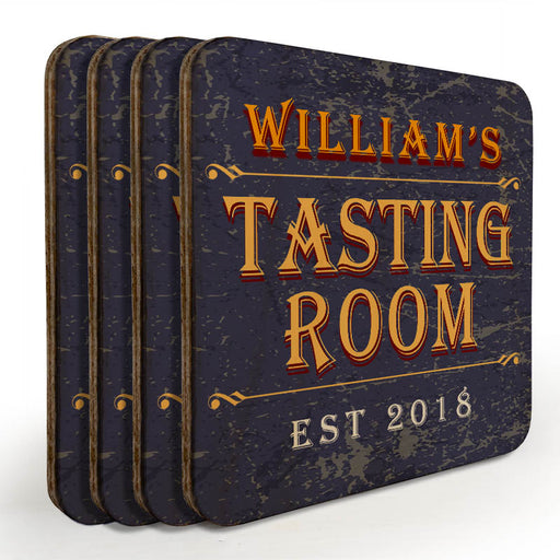 Wooden Square Coasters - Customizable - Tasting Room - Set of 4