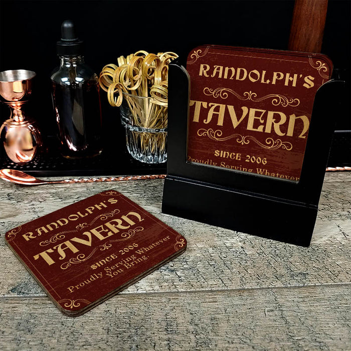 Wooden Square Coasters - Customizable - Tavern Theme - Set of 4