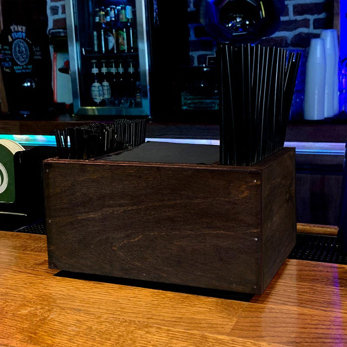 Wooden Bar Napkin & Straw Caddy - STAINED