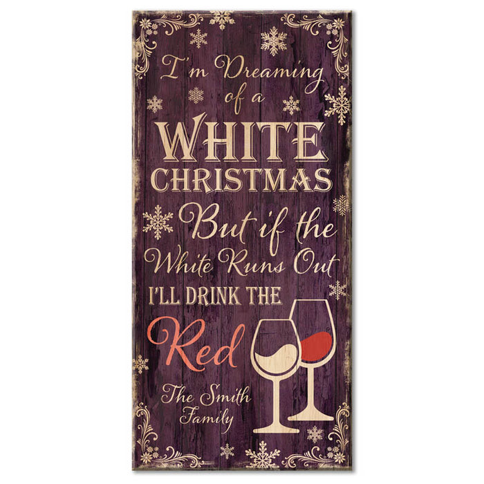 "CUSTOMIZABLE Large Wooden Bar Sign - WHITE CHRISTMAS - 11 3/4"" x 23 3/4"""