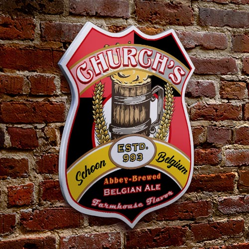 CUSTOMIZABLE Wood Shield Plaque - Heritage Beer Tavern Sign - Many Options Available - Two Sizes