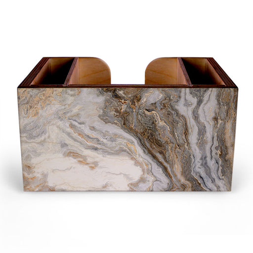 Wooden Bar Caddy - Distressed Marble