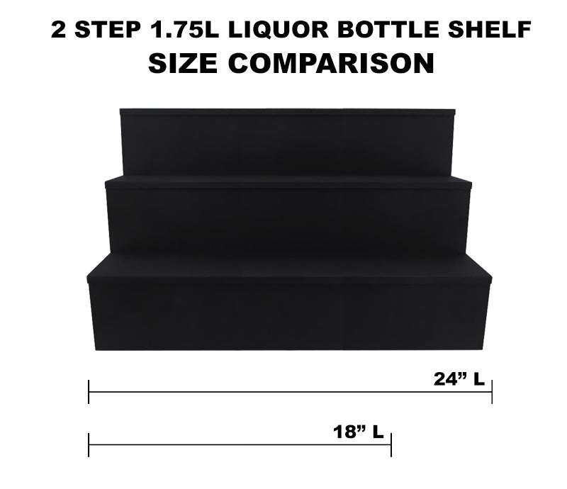 Wooden Liquor Bottle Shelves - Handcrafted in the USA - BLACK - 3 Tier - Size Variants