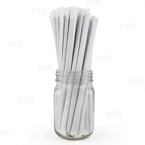 "BarConic® ""Eco-Friendly"" Wrapped Paper Straws - 7 3/4"" Solid Black - Packs of 100"