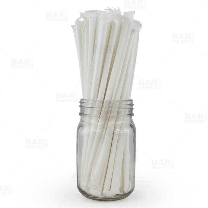 "BarConic® ""Eco-Friendly"" Wrapped Paper Straws - 7 3/4"" Solid White - Packs of 100"