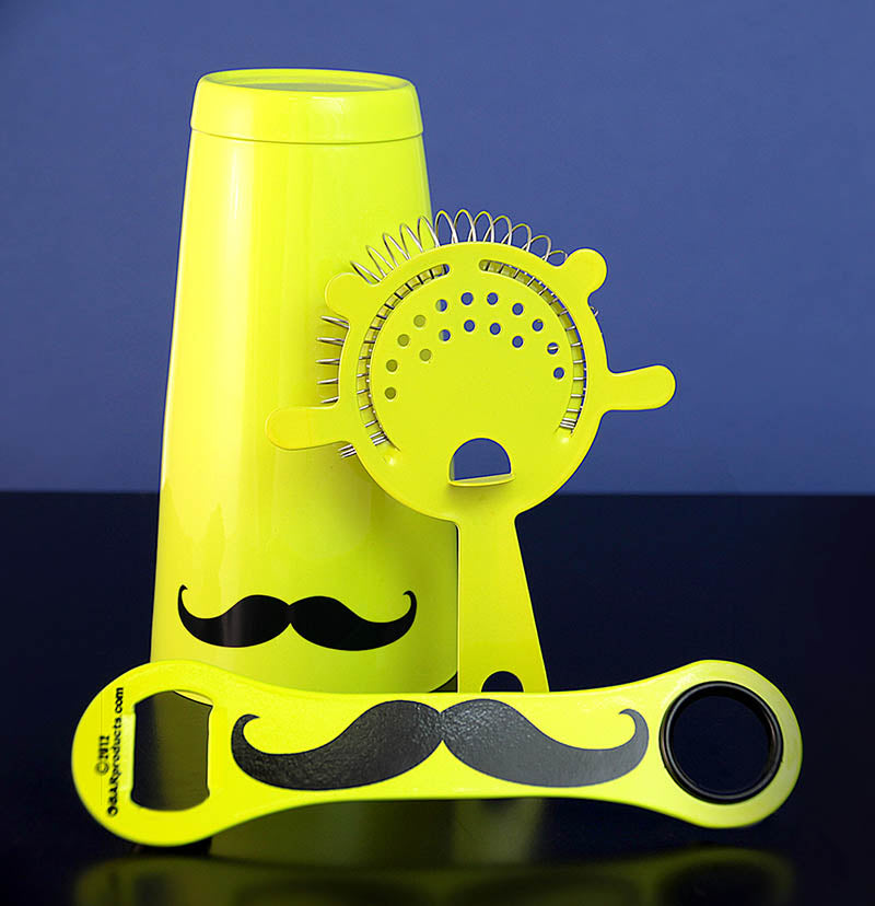 Mustache Bar Set - 3 Pieces - Neon Yellow