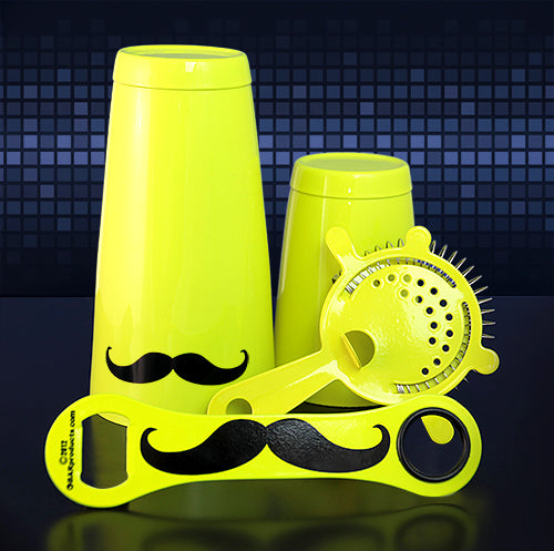 Mustache Bar Set - 4 Pieces - Neon Yellow