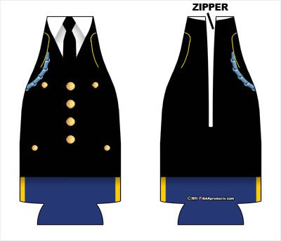 Zipper Style Bottle Coozie - Army