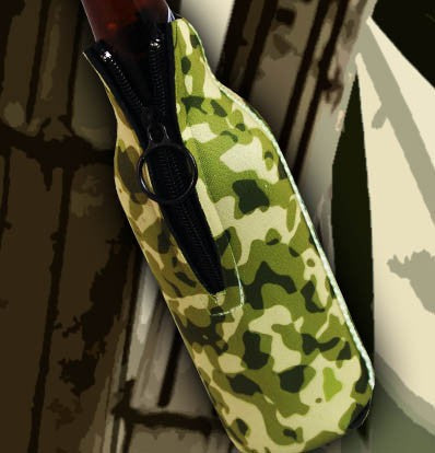 Zipper Style Bottle Coozie - Camo Forest