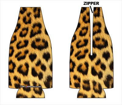 Zipper Style Bottle Coozie -Leopard