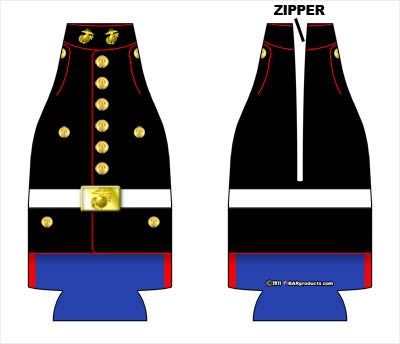 Zipper Style Bottle Coozie - Marine