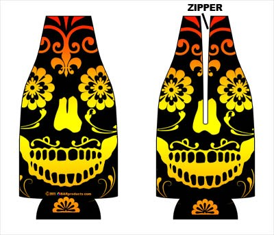 Zipper Style Bottle Coozie -Pretty Skull