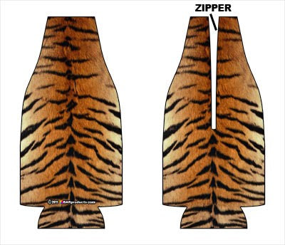 Zipper Style Bottle Coozie -Tiger