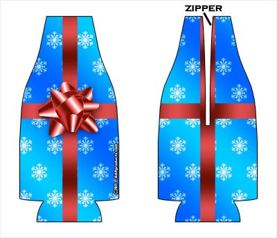 Zipper Bottle Coozie - Christmas Gift