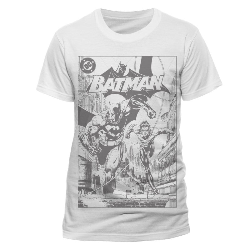 Official DC Comics Batman with Nightwing black & white comic print t-shirt