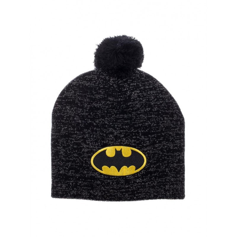 Official DC Comics - Batman symbol black sparkly effect pom beanie