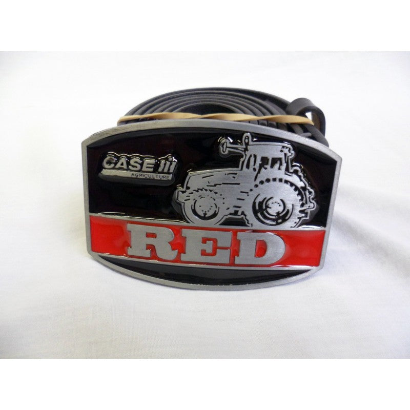 Case agriculture 'Red' black tractor buckle with belt