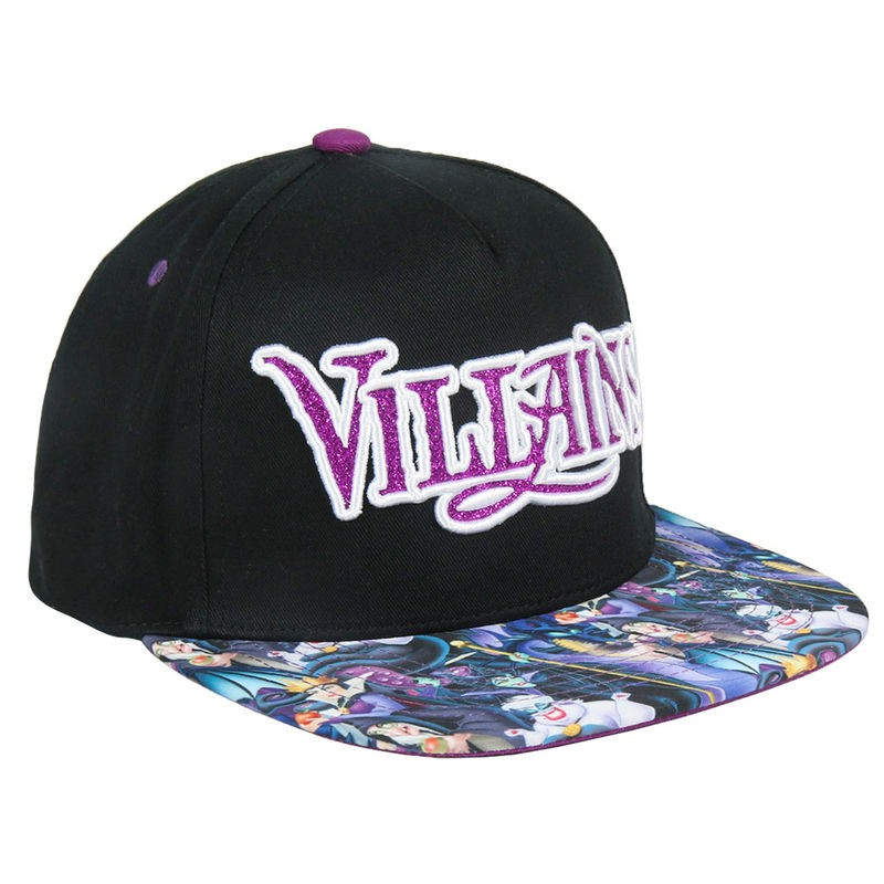 Disney - Villains pink glitter embroidery black snapback cap with printed visor