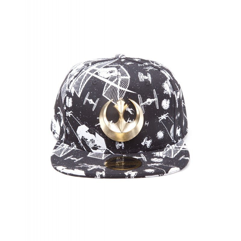 Star wars - X-Wing and Tie fighters spaceship fight with metal rebel symbol black snapback cap