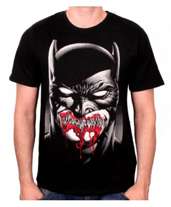 DC Comics Batman stitched dark smile almost zombie like black t-shirt