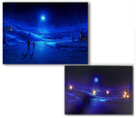 LED canvas winter night