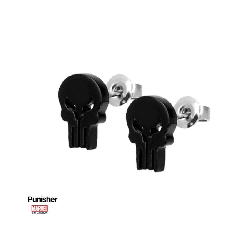 Marvel comics - the Punisher skull black stud earrings