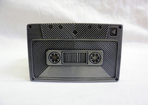 Grey cassette tape (mixtape) buckle with belt