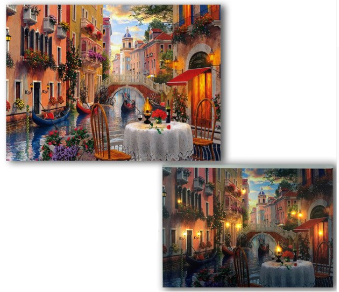 LED canvas Venice canal boat and dinning