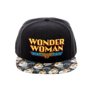 Official DC Comics Wonder Woman retro symbol snapback cap with printed visor