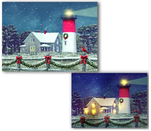 LED cottage with lighthouse