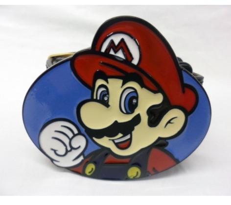 Retro super Mario bros Mario oval buckle with belt
