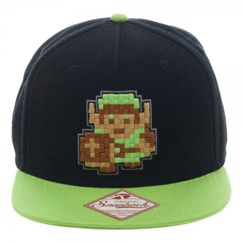 The legend of Zelda Link 8-bit black & green snapback cap