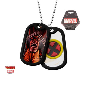 Marvel comics - Wolverine suited / X-men symbol dog tag pendant with chain necklace