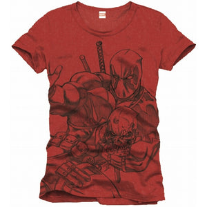 Official Marvel comics - Deadpool sketch / drawing red t-shirt