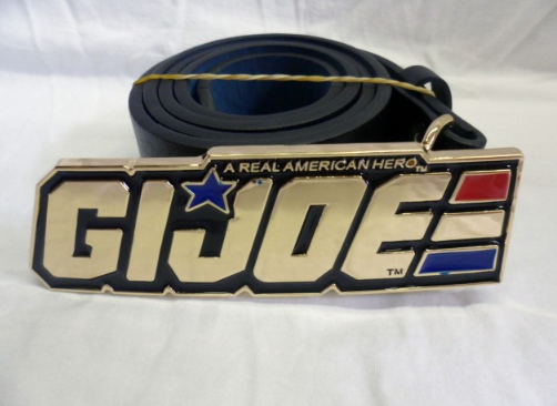 'A real american hero' G.I. Joe shiney gold buckle with belt