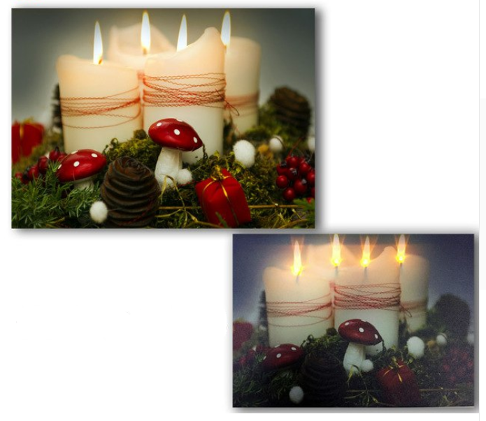 LED canvas white candles